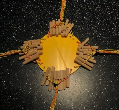 Zonnestralenspel met kunststofplatform en haspels afgerold